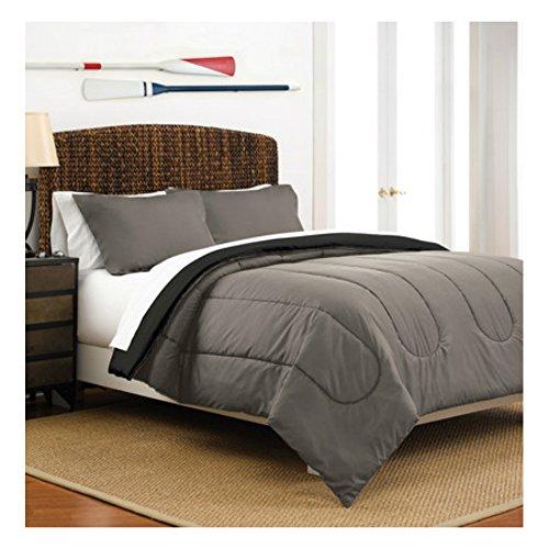Full  Queen Size Warm Cozy Comforter Set of 3 in Reversible Graphite  Ebony Solid Colors - Best for Teens Boys Bedroom