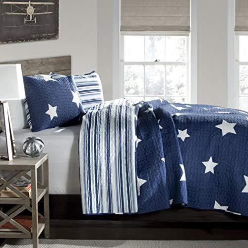 OTSK Twin Size Bedding Quilt Set Teen Boys Bedroom Navy Blue Star Design