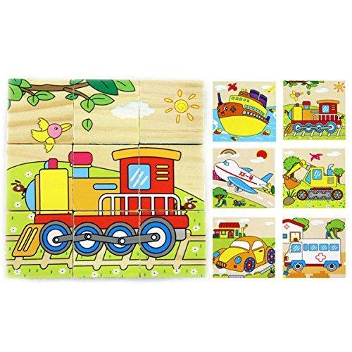 Mily 3D Volume Wooden Puzzle Transportation Wooden Cube Block Jigsaw Puzzles - TrainRooteinAmbulanceCarPlaneShip