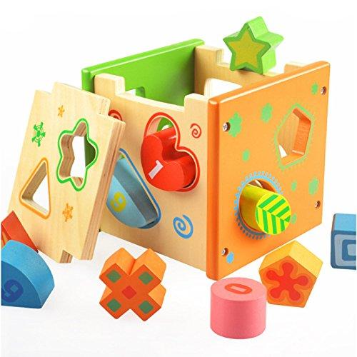 iPuzzle Wooden Shape Sorter Cube Educational Block Intelligence Box Gift Set for Kids