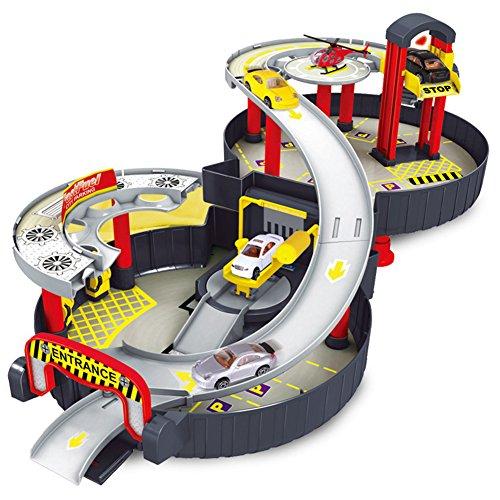 Leoie Spiral Roller Rail Alloy Vehicles Kids City Tire Parking Garage Toy Car Truck Vehicle Auto Model Children Play Set