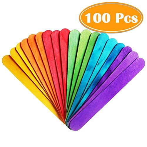 PAXCOO 100 Pcs 6 Colored Jumbo Wood Craft Sticks