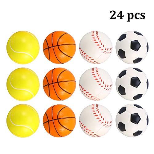 CheeseandU 24Pcs 25Inch Sports Ball Squishies Mini Foam Soccer Basketball Tennis Baseball for Kids Sports Theme Party Favors Goodie Bags Stuffer Stress Relief Squeeze Ball