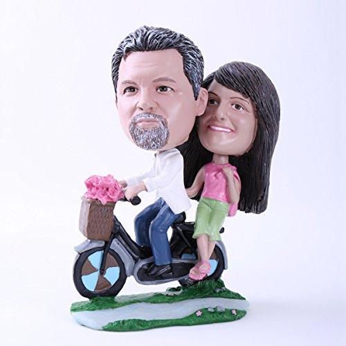 Couple Custom Bobblehead Doll Couple Riding A Bike