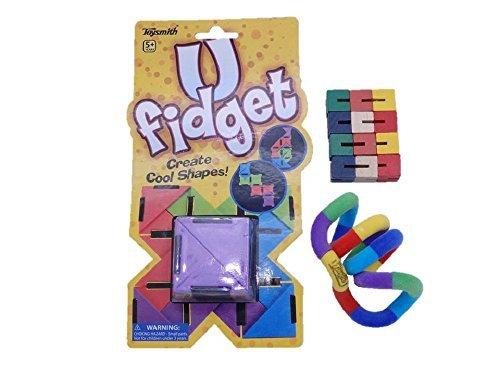 Set of 3 Assorted Sensory Fidget Toys - U FIdget Flexiblock and Tangle Jr Fuzzy by SanAndCo