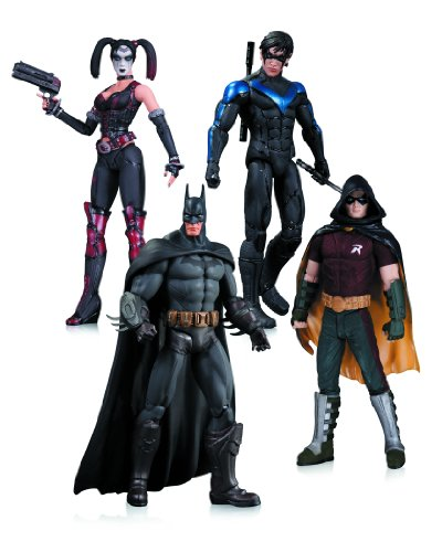 Arkham City Harley Quinn Batman Nightwing Robin Action Figure 4-Pack