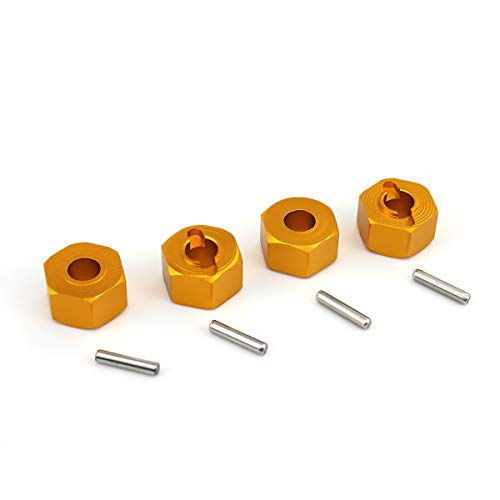 Hosim 12mm Hex Wheel Hub Mount 7mm Thick 4PCS Aluminum with 2x10mm Stub Axle Pins for Traxxas 110 Slash 4x4 HQ 727 RC Cars Replacement Upgrade Parts Gold