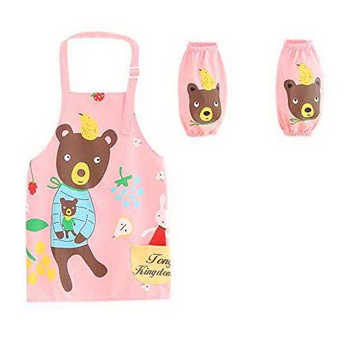 Gentle Meow Children Painting Aprons Waterproof Sleeveless Kids Lovely Smocks Pear Bear Pink