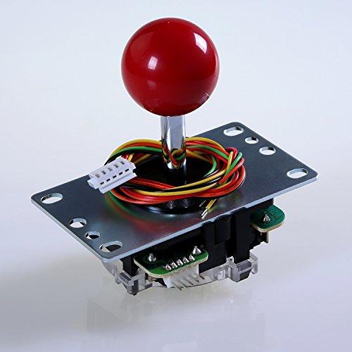 Sanwa JLF-TP-8YT-SK OEM Red Ball Top Handle Arcade Joystick 4 8 Way Adjustable Mad Catz SF4 Tournament Joystick Compatible