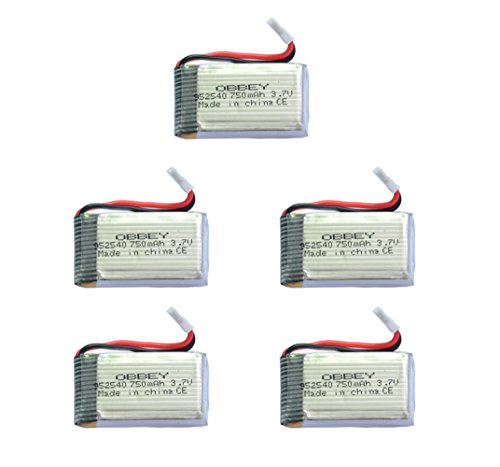 OBBEYÂ 37v 750mah 25c Lipo Battery for Syma X5C X5SW X5C-1 X5SC X5SC-1 MJX X300 Cx-30 Cx-31 M68 RC Quadcoptersilver 952540Set of 5