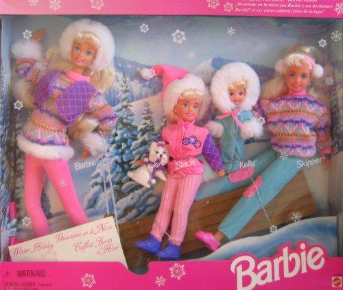 Winter Holiday BARBIE Gift Set - Sledding Fun w Barbie Koko Stacie Kelly Skipper Dolls Dog 1995