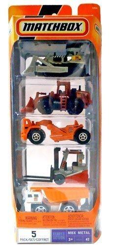 2007 Matchbox CONSTRUCTION Vehicles 5-Pack Set 2 MBX Metal N9644 Ground Breaker Quarry King Scraper Power Lift Dump Truck by Matchbox