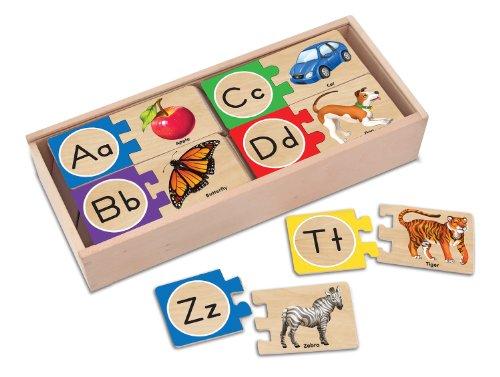 Melissa Doug Self-Correcting Alphabet Wooden Puzzles With Storage Box 52 pcs