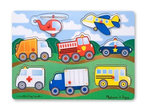 Melissa Doug Vehicles Wooden Peg Puzzle 8 pcs