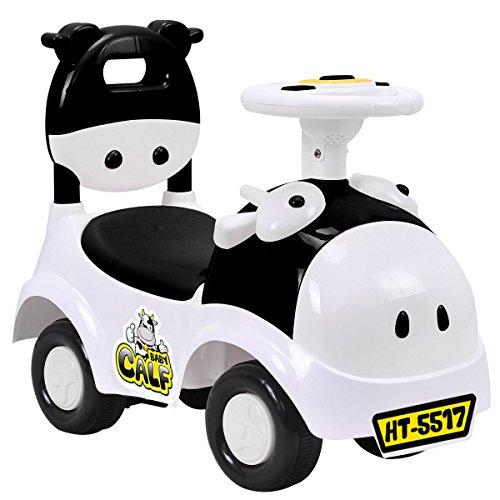 Costzon Kids Ride On Push Car 3 in 1 Sliding Car Pushing Cart Toddlers Ride On Toy w Working Horn Music Black&White