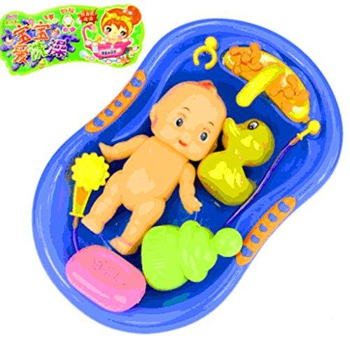 1 set Child Pretend Role Play Baby Doll Bathing Shower Bath Tub Bathroom Accessories Xmas gift Toy