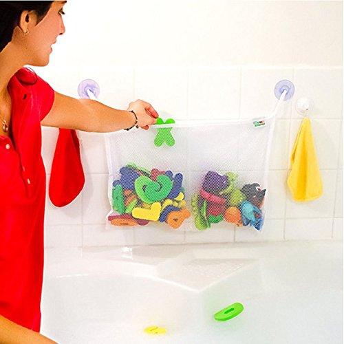 Baby Child Kid Bath Toy Bag Net Storage Bathroom Suction Organizer Two Pockets Bathtub Toy Bags