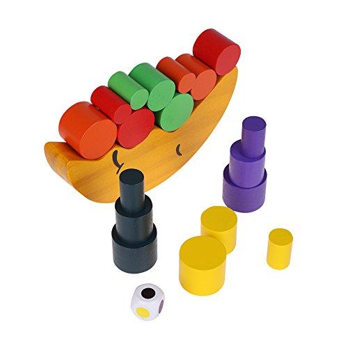 FTVOGUE Wooden Baby Toys Set Moon Crescent Balance Stacking Blocks Children Kids Educational Gift