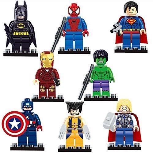 Set of 8 Marvel Universe Mini Figures  FREE Hulk Air Glider Super Heroes Building Blocks Mini-figures by Block World