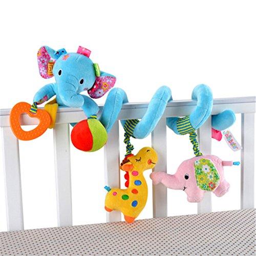 Baby Toddler Car Bed Stroller Hanging Animal Blue Elephant Spiral Activity Toys