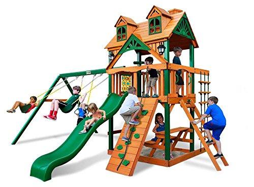 Gorillaplay sets Backyard Kids Children Playground Cedar Wood Malibu Swing Set