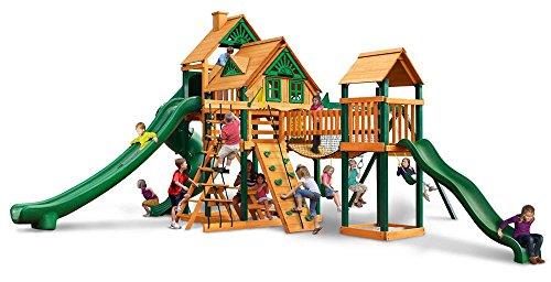 Gorillaplay sets Backyard Kids Children Playground Cedar Wood Treasure Trove II Treehouse Swing Set With Timber Shield