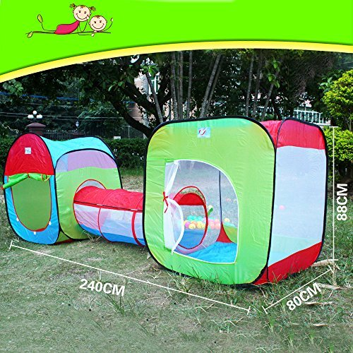 Roadacc TM Two Cubby One Tunnel 3 in 1 Childrens Playground Play Tent House and Tube for Kids Great for Fun Indoor and Outdoor