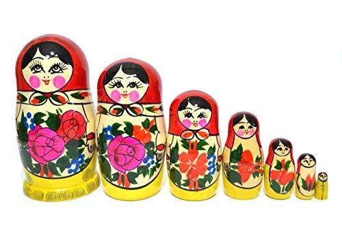 Altarica Russian Nesting Dolls Matryoshka - Wooden Stocking Nesting Dolls - Semenov Traditional Handmade Toys Set 7pc Nesting Doll 75inch