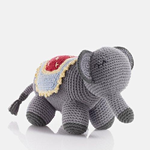 Pebble  Handmade Elephant Stuffed Animal-Grey  Crochet  Fair Trade  Pretend  Imaginative Play  Jungle  Circus  Kids Toy  Machine Washable
