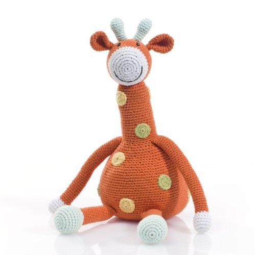 Pebble  Handmade Giraffe Stuffed Animal-Orange  Crochet  Fair Trade  Pretend  Imaginative Play  Safari  Kids Toy  Machine Washable