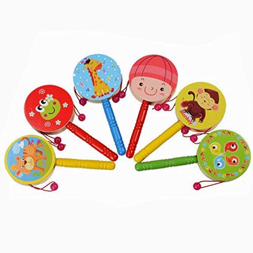 LandFox ToyWooden Rattle Pellet Drum Cartoon Musical Instrument Toy for Child Kids Gift