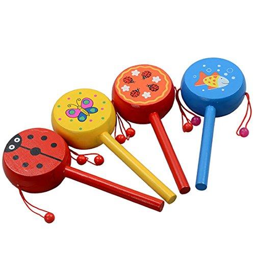 OVERMAL Wooden Rattle Pellet Drum Cartoon Musical Instrument Toy for Child Kids Gift