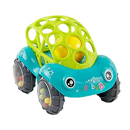 MonLiya Soft Rattle Car 12 Months Baby 0-1-3 Hand Grasping Ball toys Hand Jingle Shaking Bell Car Green