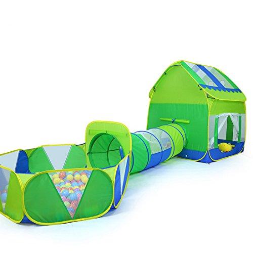 Truedays 3 in 1 Huge Green Play House Kids Adventure Play Tent Indoor Outdoor Tunnel Pool107