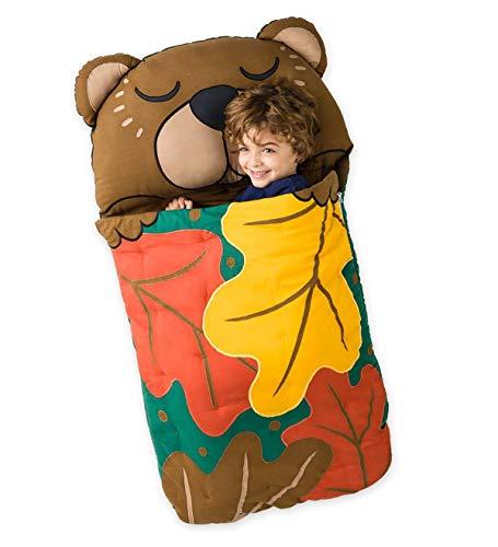 Woodland Sleeping Bag Slumber Sack with Built in Pillow - Cotton - 57 L x 28 W - Woodland Bear