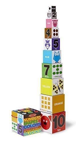 2 X Melissa Doug Nesting Blocks - Numbers Shapes Colors