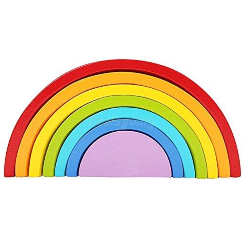 Sangdo Wooden 7 Pieces Rainbow Nesting Blocks Stacker Kids Young Children Toy Gift