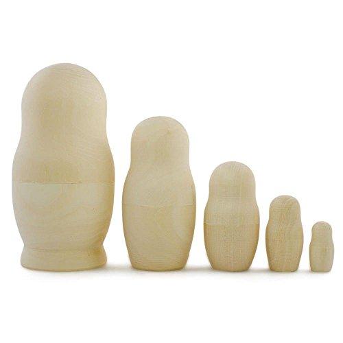 BestPysanky 575 Set of 5 Blank Unpainted Wooden Russian Nesting Dolls