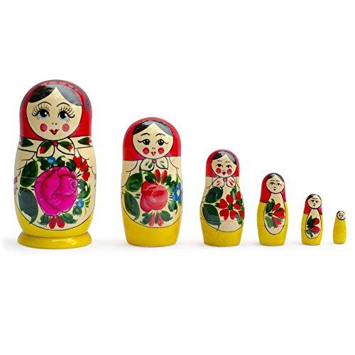 BestPysanky Set of 6 Traditional Semenov Matryoshka Wooden Russian Nesting Dolls 55 Inches