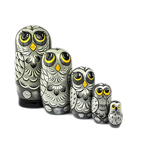 Heka Naturals Russian Nesting Dolls 5 Animal Matryoshka Owl Style  Babushka Wooden Doll Gift Toy Grey Owl Design Hand Made in Russia  Owl 5 Piece 7 inches