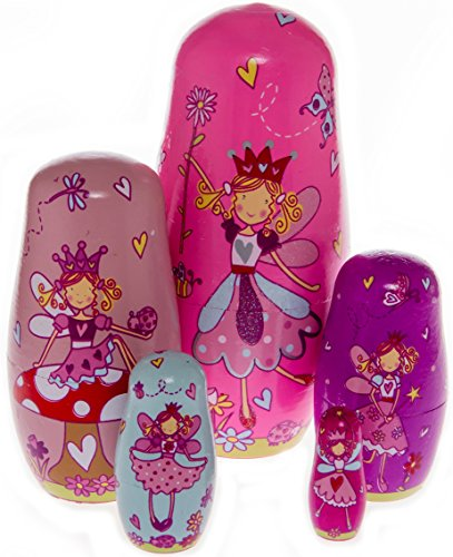 Moonmo 5pcs Beautiful Handmade Wooden Russia Nesting Dolls Gift Russian Nesting Wishing Dolls Angel Matryoshka Traditional