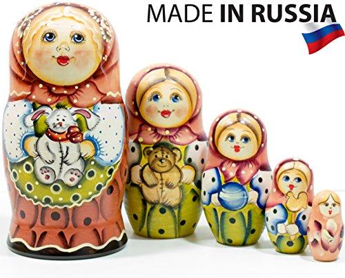 Russian Nesting Doll - Masha - Hand Painted in Russia - 6 style variations - Traditional Matryoshka Babushka C 675``5 dolls in 1 Style E