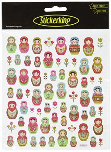 Multi-Colored Stickers-Russian Dolls Glitter