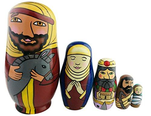 Set of 5 Handmade Wooden The Nativity Holy Family Nesting Doll Matryoshka Russian Doll Popular Kids Christmas Birthday Gifts Toy