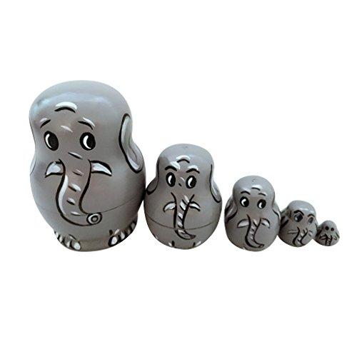 Set of 5pcs Painted Wooden Elephant Nesting Dolls Matryoshka Russian Doll Kids Gift