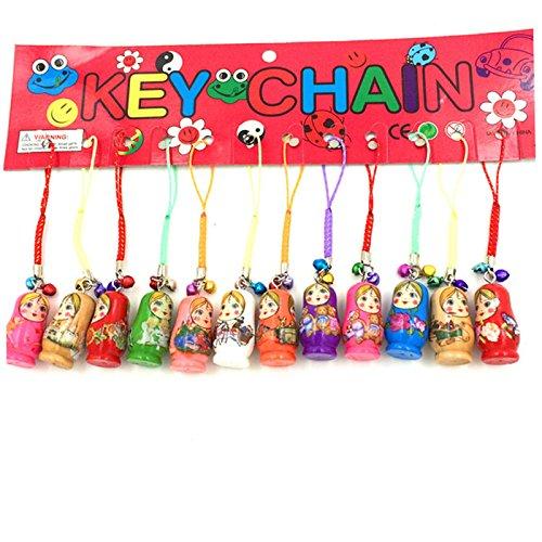xlpace 12pcs Fashion Jewelry Drip Charm Key Chains Wood Matryoshka Russian Dolls Key Rings Keychains Decorative Gifts