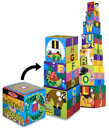 Alphabet Nesting Stacking Blocks 10-Piece Play Set  FREE Melissa Doug Scratch Art Mini-Pad Bundle 27823