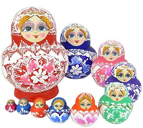 Leegoal Leegoal Beautiful Wooden Russian Nesting Doll Toy Russian Doll Wishing Dolls Handmade Hot Sale 10pcs parallel import goods