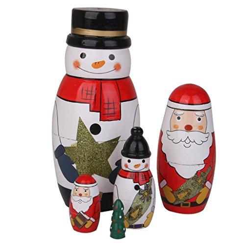 FDorla Beautiful Snowman Handmade Wooden Russian Nesting Doll Toy Matryoshka Doll Wishing Dolls Gift Ideal 5pcs