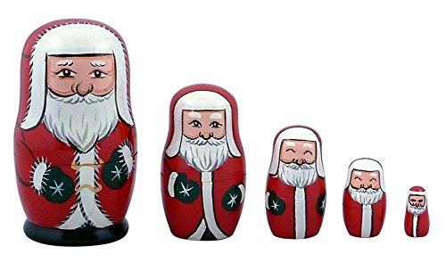 Jutao Handmade Wooden Santa Claus Russian Matryoshka Nesting Dolls Toys for Kids